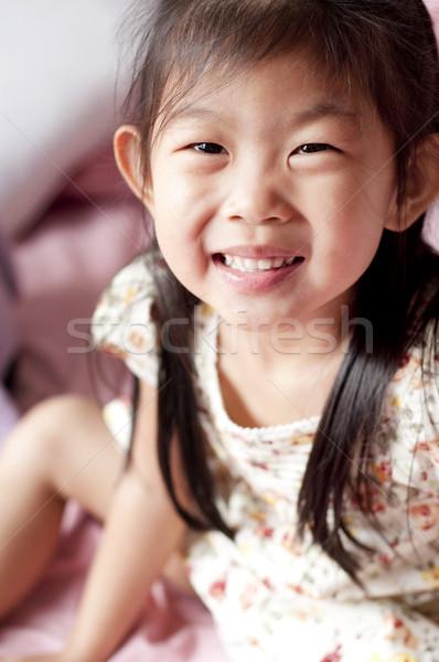 ázsiai lány 5 éves boldog mosolyog nő Stock fotó © szefei