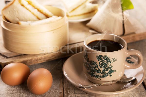 Traditional Malaysian Nanyang coffee and breakfast Stock photo © szefei