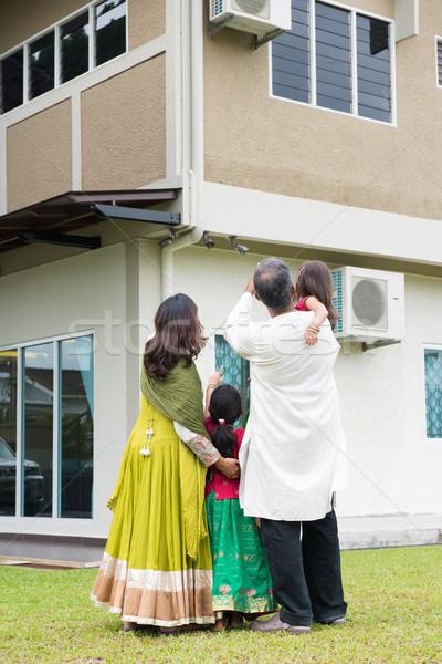 Rear view of Indian family Stock photo © szefei