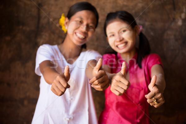 2 小さな ミャンマー 女の子 親指 アップ ストックフォト © szefei