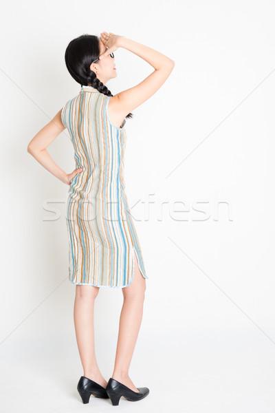 Asian girl hand shielding Stock photo © szefei