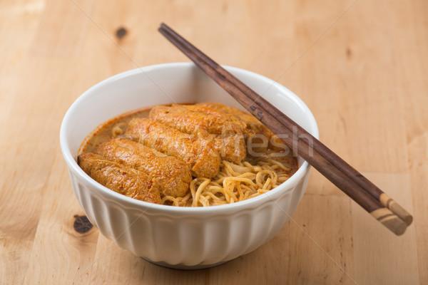ázsiai konyha forró curry tészta fűszeres evőpálcikák Stock fotó © szefei