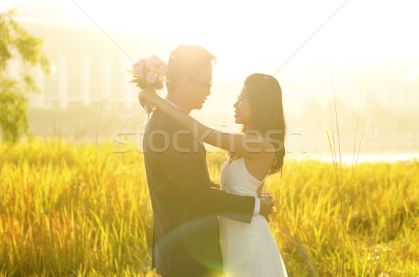 Stock photo: Outdoor Bride and Groom