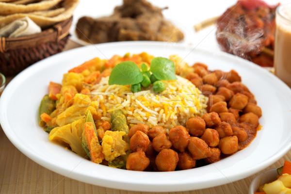 Rizs friss főtt gőz finom indiai étel Stock fotó © szefei