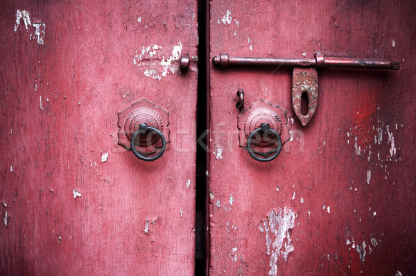 ancient red door  Stock photo © szefei