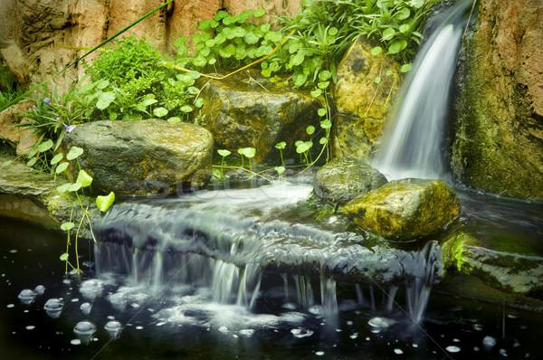 Japans tuin watervallen vertragen sluiter voorjaar Stockfoto © szefei
