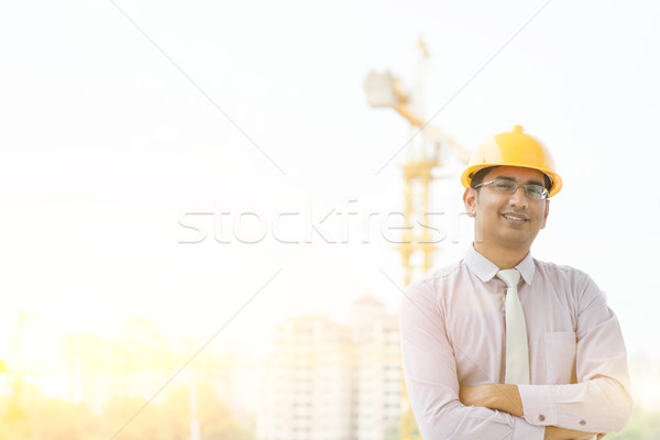 Indian male site contractor engineer  Stock photo © szefei