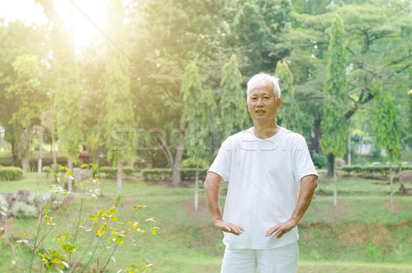 Idős férfi gyakorol tai chi szabadtér portré egészséges Stock fotó © szefei