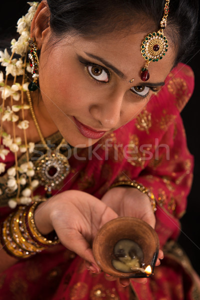 Diwali Indian female with oil lamp Stock photo © szefei