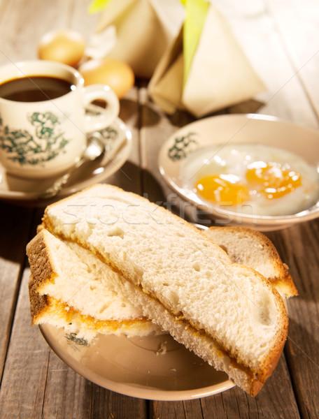 Traditional Malaysian breakfast kaya butter toast Stock photo © szefei