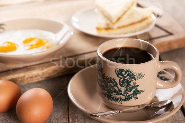 Kínai kávé reggeli hagyományos szingapúri stílus Stock fotó © szefei
