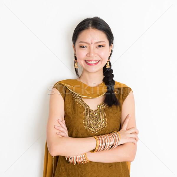 Mixed race Indian woman in sari dress Stock photo © szefei