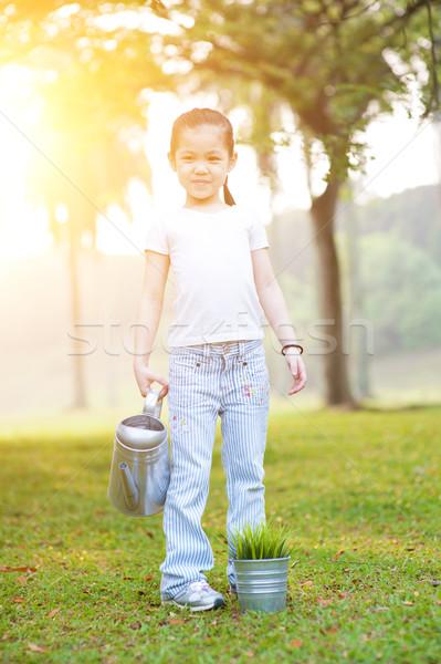 Asian little girl watering plant outdoors. Stock photo © szefei