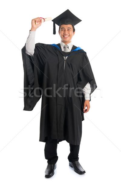 Teljes alakos egyetemi hallgató érettségi egészalakos vonzó délkelet Stock fotó © szefei