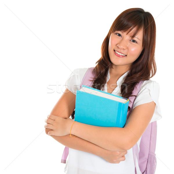 ázsiai egyetemi hallgató portré mosolyog izolált fehér Stock fotó © szefei