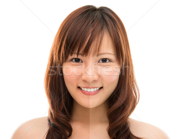 Asian woman face with half tan skin  Stock photo © szefei