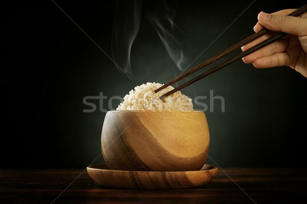 Cozinhado orgânico basmati marrom arroz vapor Foto stock © szefei