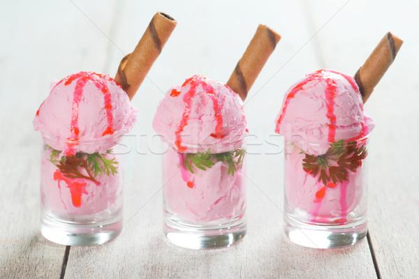 Cups of strawberry ice cream Stock photo © szefei
