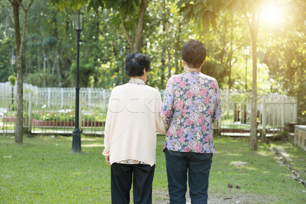 Rear view Asian elderly women walking in garden park Stock photo © szefei