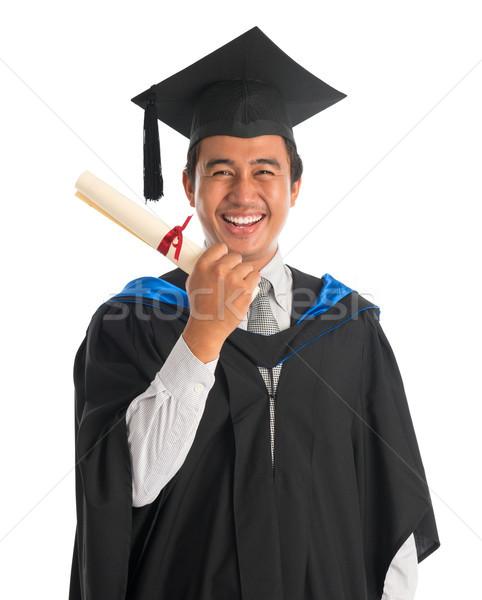 Izgatott egyetemi hallgató érettségi derék felfelé boldog Stock fotó © szefei
