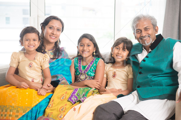 Family of five smile at camera Stock photo © szefei
