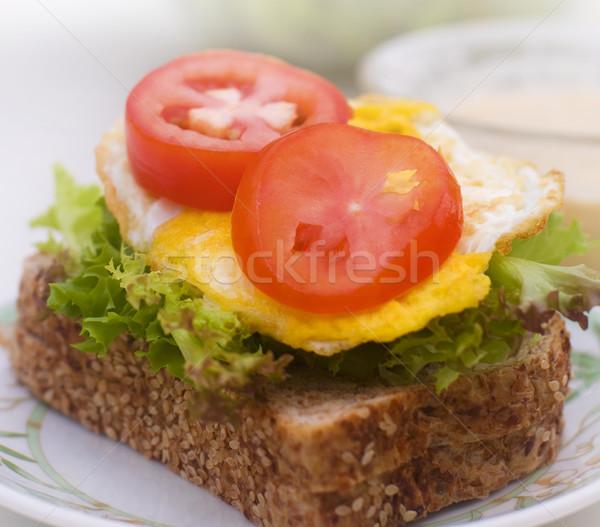Egg sandwich plate Stock photo © szefei