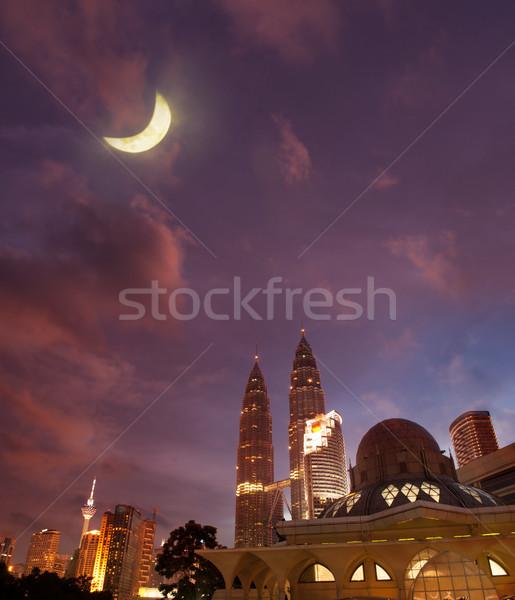 ночь мнение известный мечети towers Куала-Лумпур Сток-фото © szefei