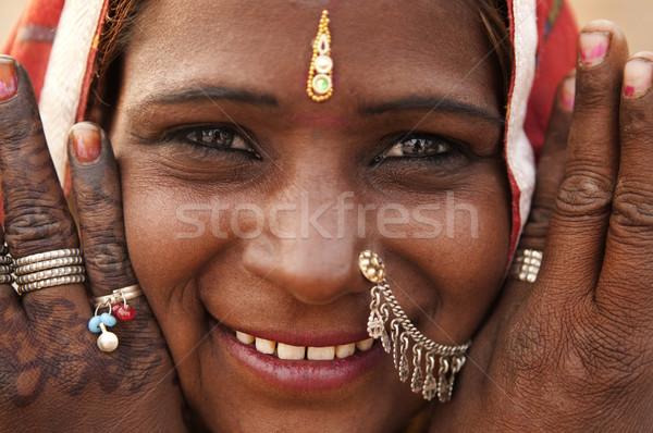 Indiai nő portré India nő henna tetoválás Stock fotó © szefei