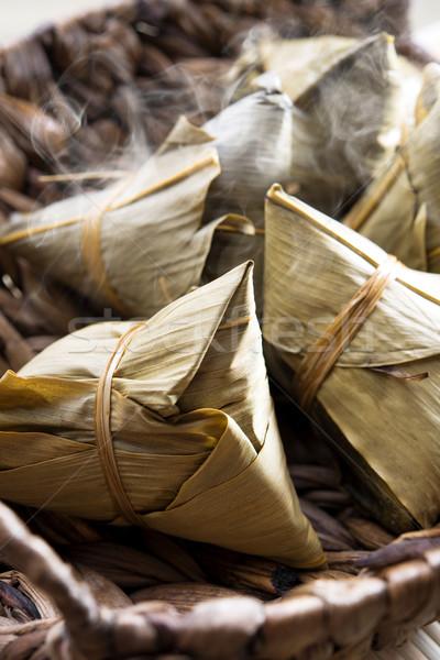 Kínai rizs gombóc friss hagyományos párolt Stock fotó © szefei