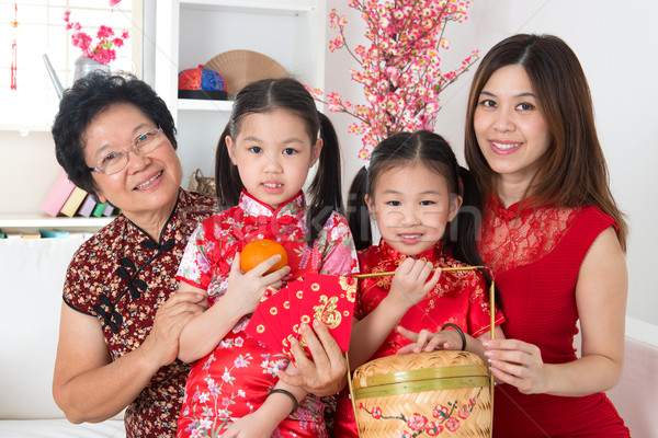 Beautiful multi generations Asian family Stock photo © szefei
