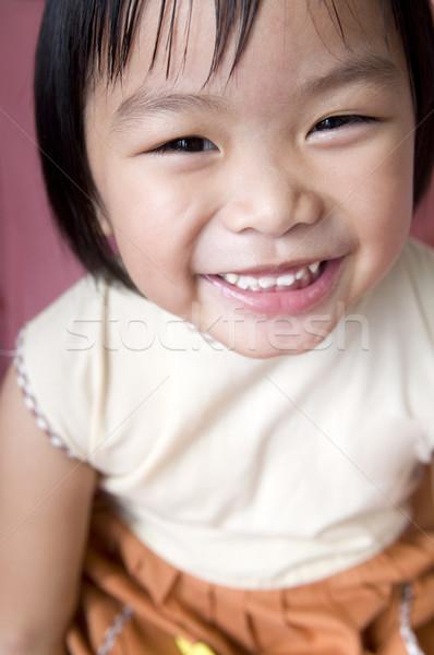Boldog lány boldog 5 éves ázsiai lány arc Stock fotó © szefei