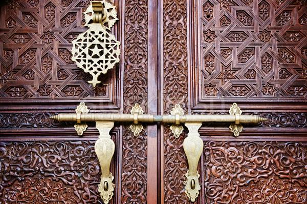 Iszlám stílus ajtó gyönyörű részletek épület Stock fotó © szefei