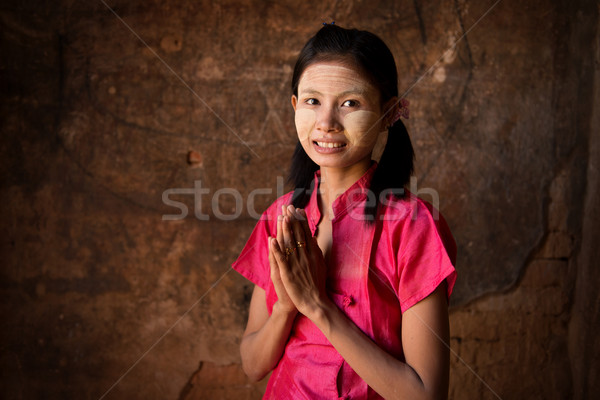 Young Myanmar girl blessing Stock photo © szefei