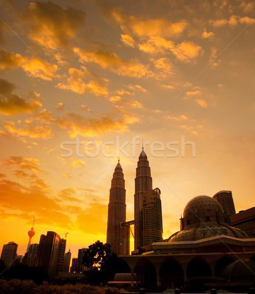 мечети towers закат мнение Куала-Лумпур Сток-фото © szefei