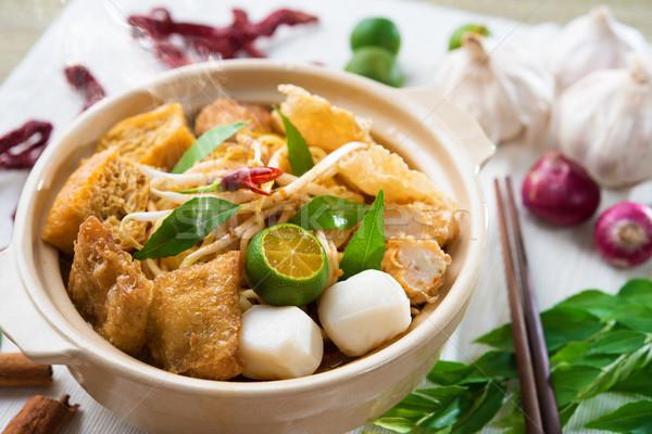 Szingapúr curry tészta forró fűszeres gőz Stock fotó © szefei