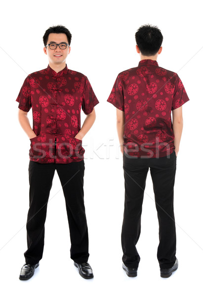 Chinese cheongsam male front and back view Stock photo © szefei