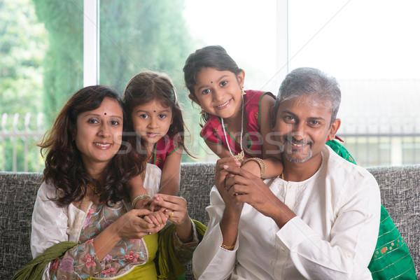 Indian parents and children Stock photo © szefei