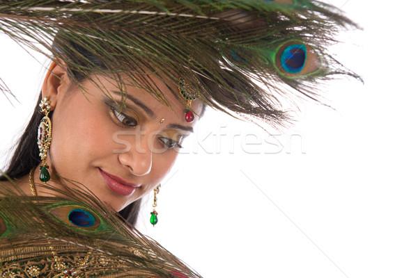 Indiano feminino pavão retrato belo Foto stock © szefei
