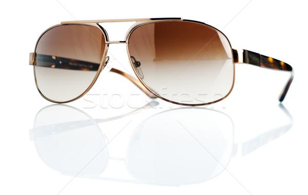 Luxe zonnebril bruin geïsoleerd witte bril Stockfoto © szefei
