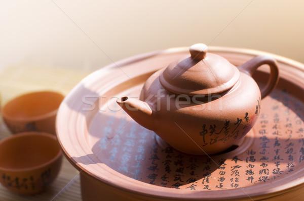 Chińczyk ceramiczne czajniczek słowo puli Zdjęcia stock © szefei