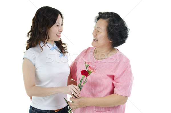 матери дочь гвоздика цветок улыбаясь Сток-фото © szefei