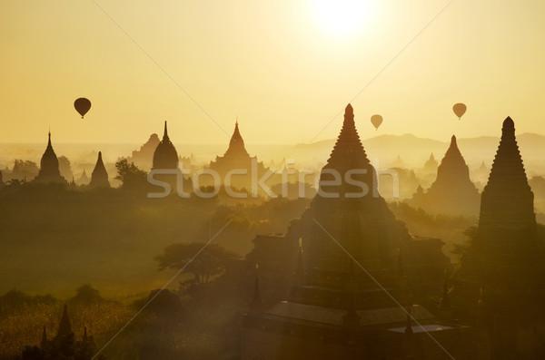 Bagan view with hot air balloons Stock photo © szefei