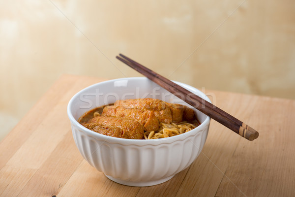 Hot and Spicy Curry Laksa Noodles cuisine Stock photo © szefei