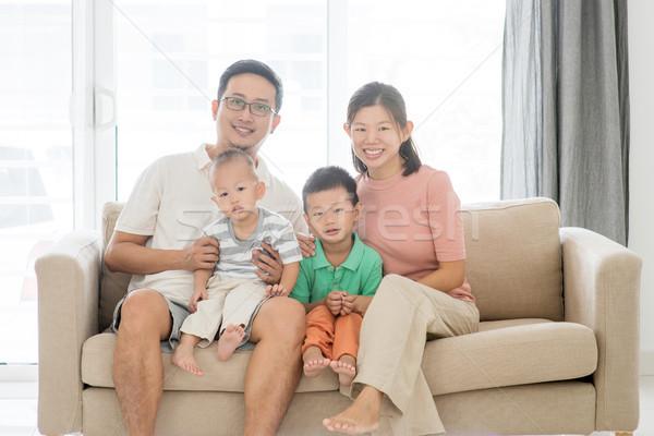 Boldog ázsiai családi portré portré családi otthon szülők Stock fotó © szefei