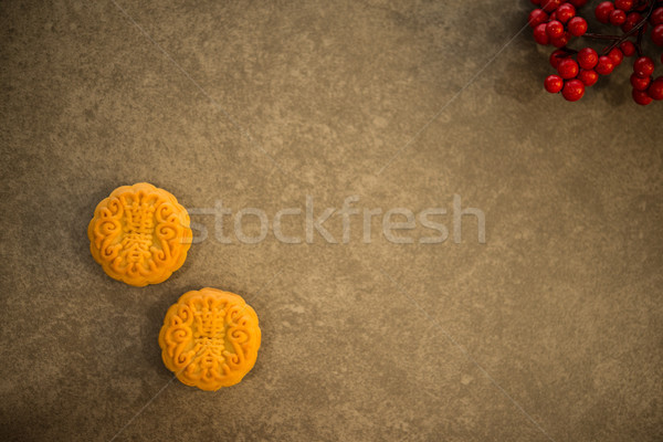 Mooncakes on low light background with copy space Stock photo © szefei