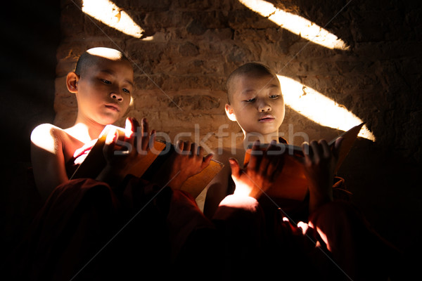 Two Southeast Asian little monks reading book  Stock photo © szefei