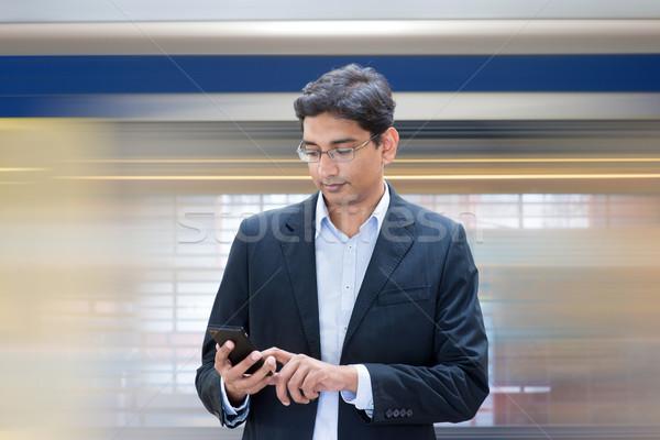 Stockfoto: Wachten · trein · asian · indian · zakenman