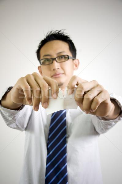 Lacrimógenos piezas tarjeta Asia empresario negocios Foto stock © szefei