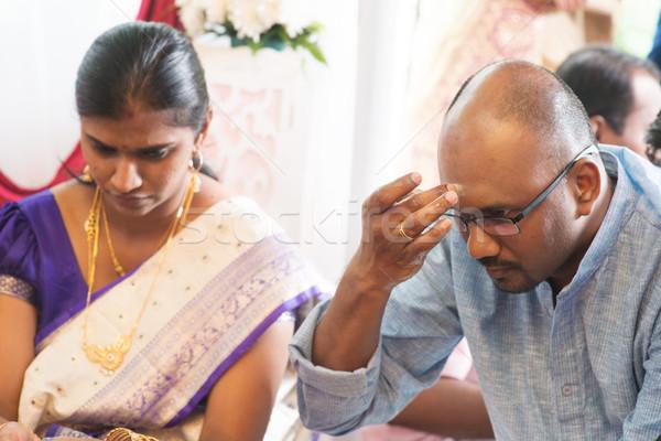 Homem testa indiano tradicional religioso tradição Foto stock © szefei