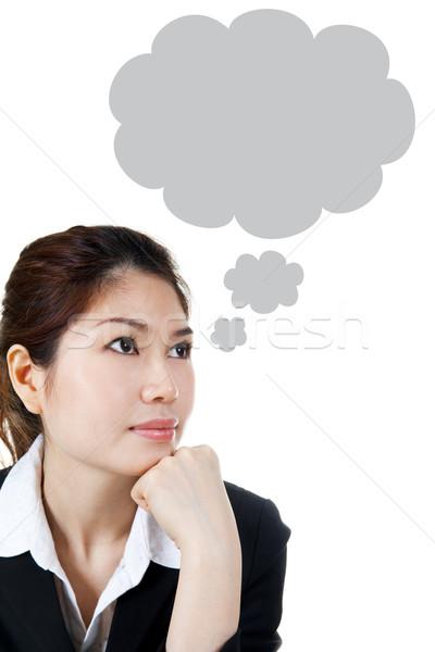 Burbuja de pensamiento Asia femenino burbuja forma generado Foto stock © szefei